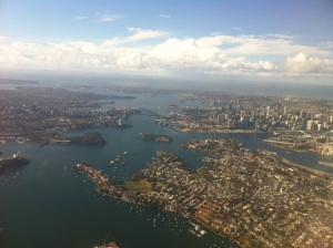 Aerial view of Sydney Harbour.